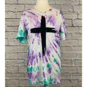 Custom Purple & Teal Tie Dye Cross Graphic Tee